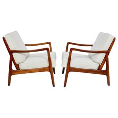 Early Pair of Ole Wanscher Mahogany Lounge Chairs, 1950's