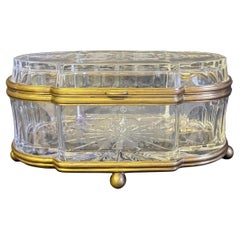 French Large Etched Cut Glass and Brass Lozenge Shape Box or Casket