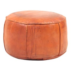 Midcentury Pouf in Patinated Leather, Made in Denmark, 1960s