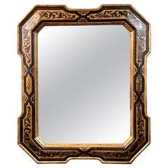 19th Century Italian Ebony and Giltwood Mirror