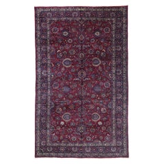 Antique Persian Mashhad Rug with Victorian Elizabethan Style