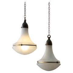 Pair of Peter Behrens Brass Opaline and Frosted Glass Pendants Lights Lanterns