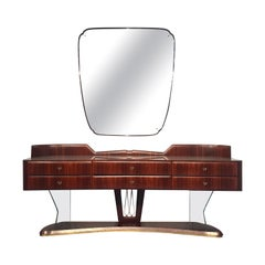 Italian Mid-Century Sideboard in Rosewood, with Mirror by Vittorio Dassi, 1950s