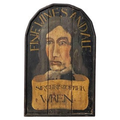 """English Pub Sign, """"Fine Wines and Ale - Sir Christopher Wren"""""""