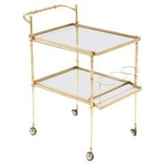 Italian Brass Art Deco Bar Cart