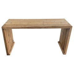 Vintage Reclaimed Wood Waterfall Elm Wood Console Table or Desk