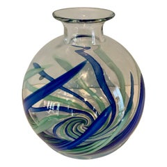 Murano Art Glass Vase with Blue and Green Strokes