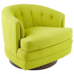 Milo Baughman For Thayer Coggin Style MCM Barrel Back Walnut Base Swivel Chair