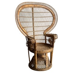 French Emanulle Armchair in Rattan and Wicker, 1970s