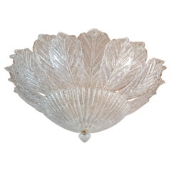 Large Mid Century Leaf Murano Flush-Mount, Neoclassical Style Barovier Italy 70s
