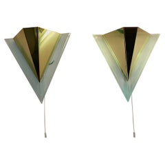 Modern Pair of Vintage Lucite Metal Sconce Triangle 1990s Germany