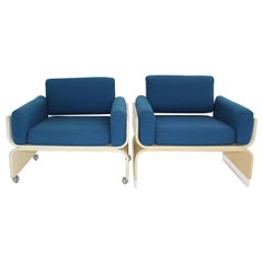 Space Age Vintage White Blue Lounge Chairs, 1960s