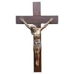 Antique Art Deco Wall Crucifix w. Bronze Christ Corpus by Sculptor Sylvain Norga
