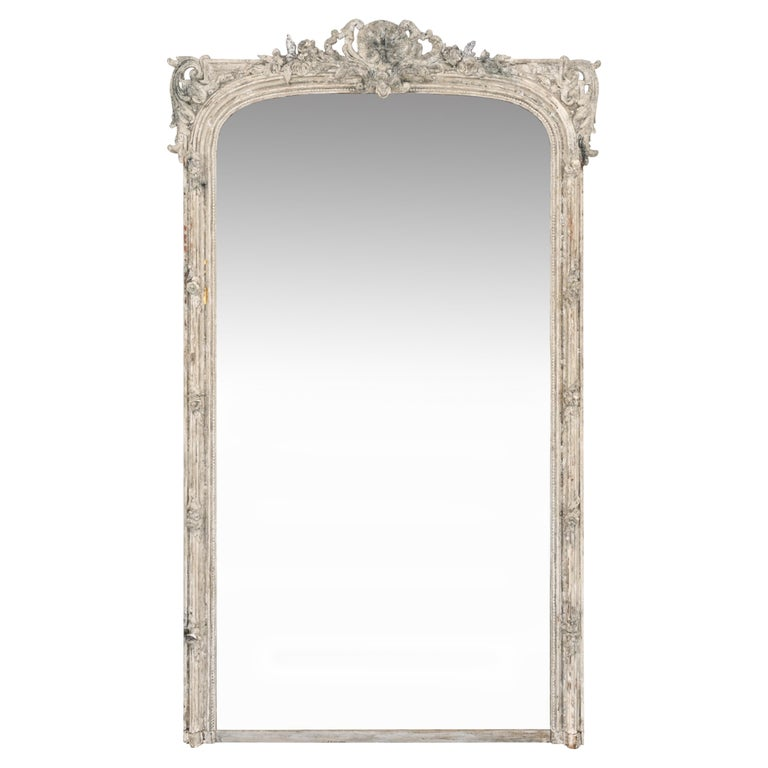 Large 19th C. Carved and Painted Mirror For Sale