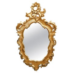 Vintage Mirror in Carved and Gilded Wood, '800 Italy