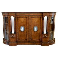 Antique Victorian Burr Walnut Credenza Set with Large Wedgwood Cameo Plaques