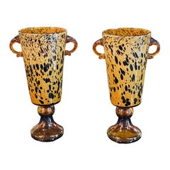 Murano Pair of Spotted Amber Vases with Hoop Handles