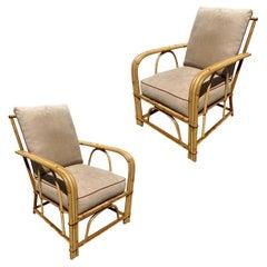 "Rare ""1949er"" Rattan 3-Strand Lounge Chair Pair by Heywood Wakefield"