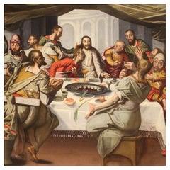 16th Century Oil on Oak Panel Antique Flemish Last Supper Painting, 1570