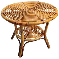 1960s Italian Bamboo Rattan Bohemian French Riviera Round Coffee or Accent Table