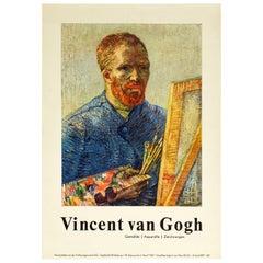 Original Vintage Art Exhibition Poster Vincent Van Gogh Self Portrait Painting