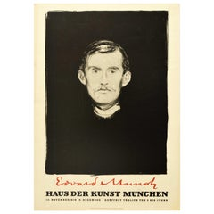Original Vintage Art Exhibition Poster Edvard Munch Self Portrait Needle And Ink