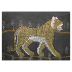"""1970s Jaime Parlade Designer Hand Painting """"Tiger"""" Oil on Canvas"""