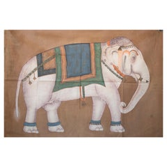 """1970s Jaime Parlade Designer Hand Painting """"Elephant"""" Oil on Canvas"""