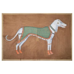 """1970s Jaime Parlade Designer Hand Painting """"Dog"""" Oil on Canvas"""