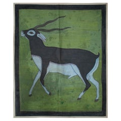 """1970s Jaime Parlade Designer Hand Painting """"Antelope"""" Oil on Canvas"""