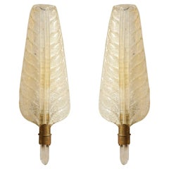 1950s Elegant Vintage Barovier Gold incrusted Murano Glass Feather Wall Sconces