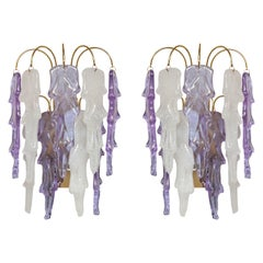 1970s Mazzega Italian Murano Glass Wall Sconces with Amethyst and Frost Glass