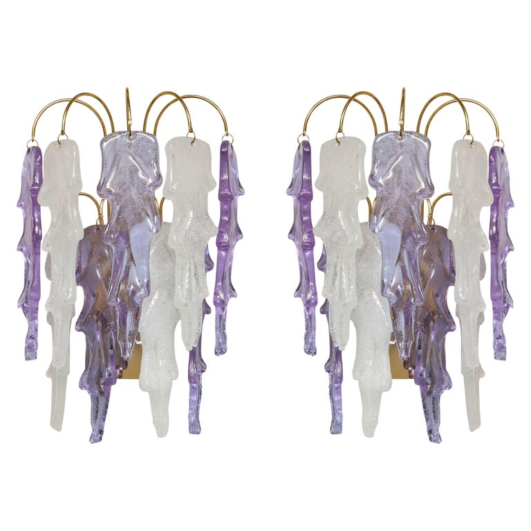 1970s Mazzega Italian Murano Glass Wall Sconces with Amethyst and Frost Glass For Sale