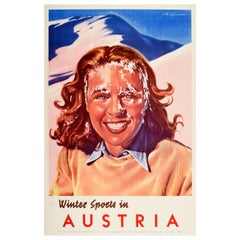 Original Vintage Poster Winter Sports In Austria Alps Mountains Snowball Design