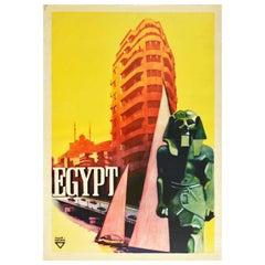 Original Vintage Poster Egypt Ancient Pharaoh Modern City River Nile Sailing Art