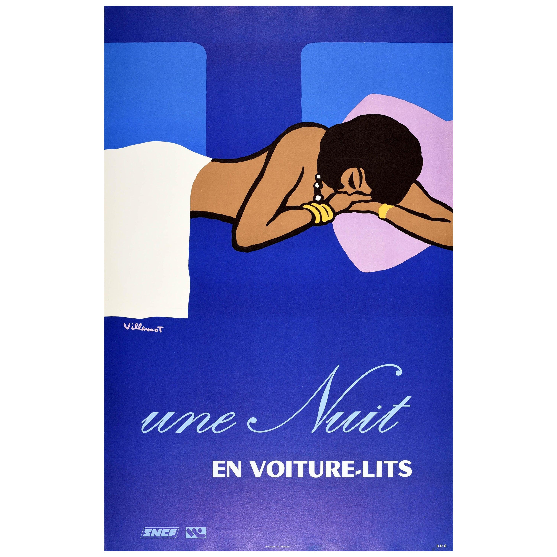 Original Vintage French Railway Poster Une Nuit En Voiture-Lits Night Train SNCF