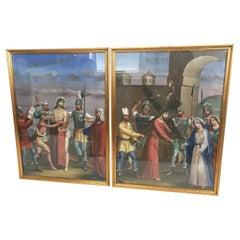 Pair of Antique Religious Paintings Jesus Christ 19 th century