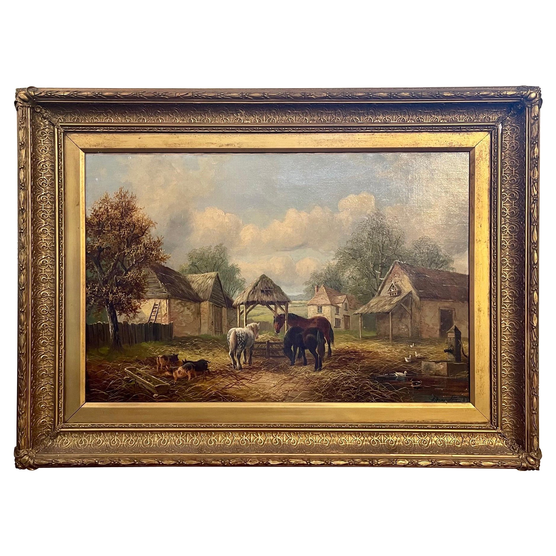 19th Century English Oil Painting on Canvas
