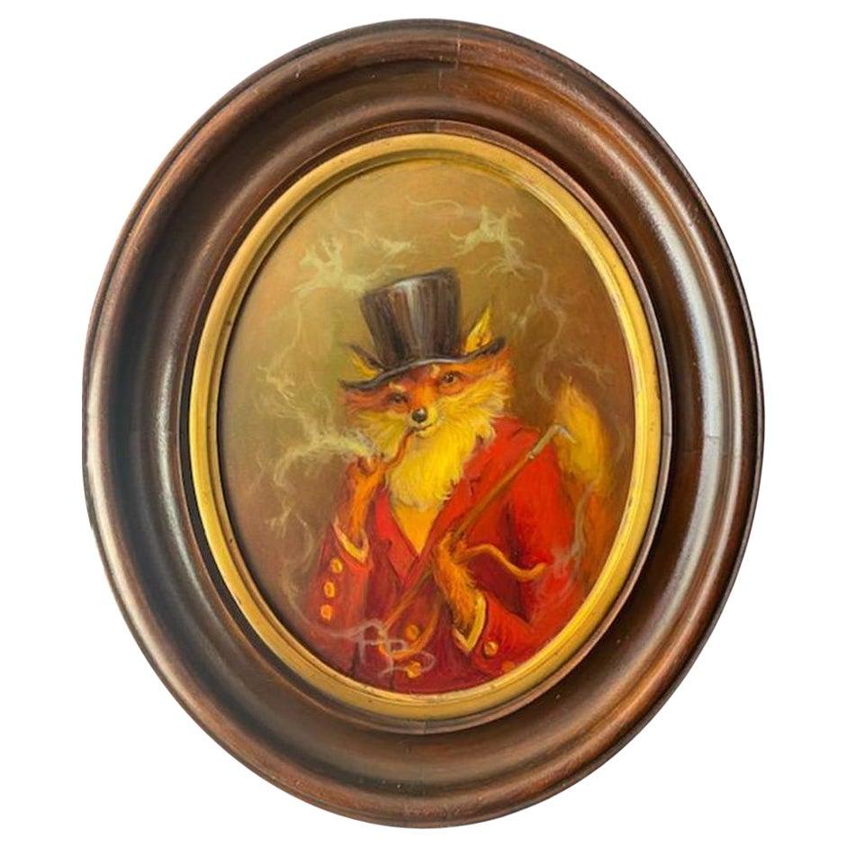 Fox Smoking Pipe, Anthony Barham Oil Painting, 2020