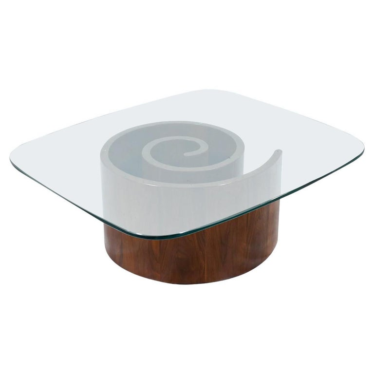 """Vladimir Kagan """"Snail"""" Coffee Table with Glass Top for Selig For Sale"""