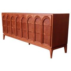 Thomasville Mid-Century Modern Burled Walnut Dresser or Credenza, Refinished