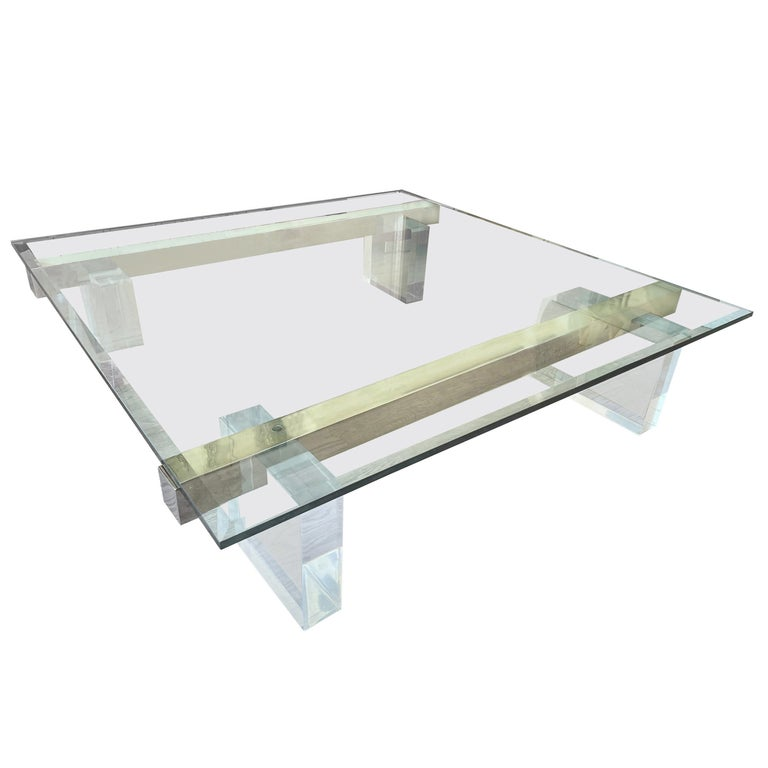 Large 1980s Lucite and Steel Coffee Table For Sale