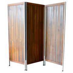 Walnut and Resin Screen or Room Divider, ca. 1970