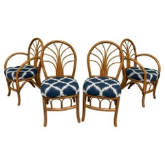 Vintage Bentwood Rattan Dining Chairs, Set of 4
