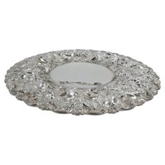 Antique Stieff Rose Baltimore Repousse Sterling Silver Cake Plate