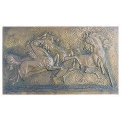 Mid Century Horses Wall Decoration Panel Embossed Copper, c1950-1960