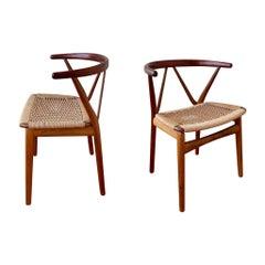 Danish Modern Rare Pair of Chairs Design by Henning Kjaernulf for Bruno Hansen