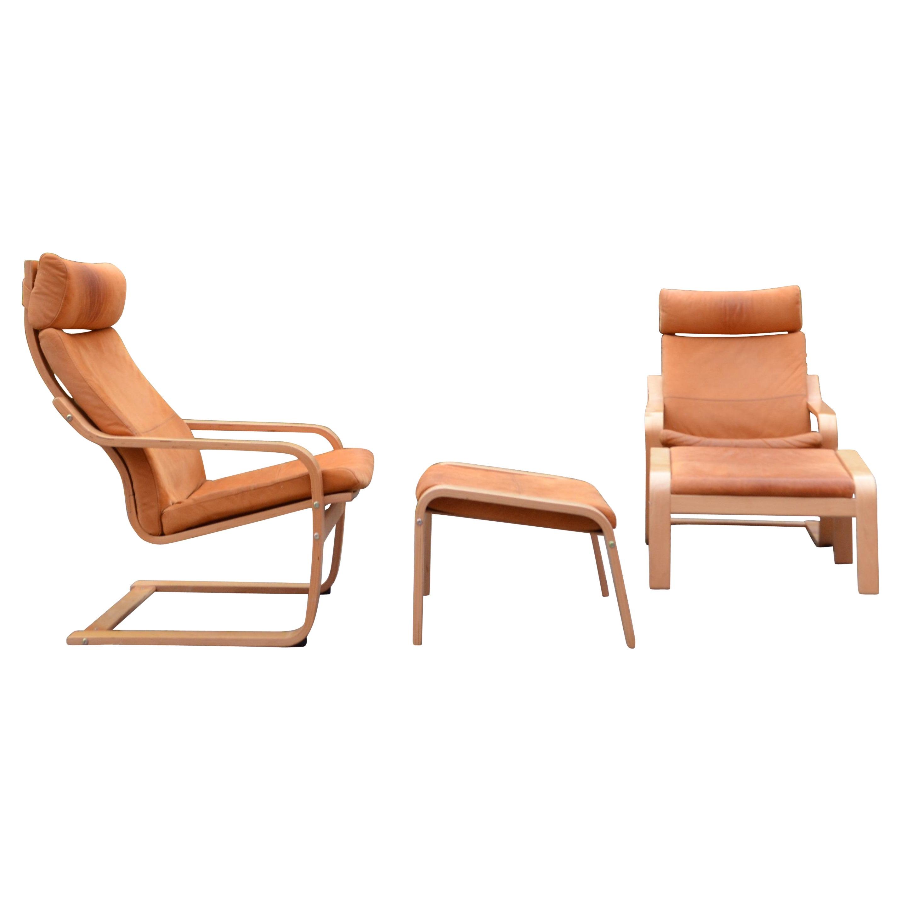 VINTAGE IKEA Poäng Velvet Leather Lounge Chair & Ottomane Noboru Nakamura 1999