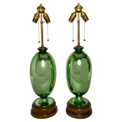 1930s Green Mercury Glass Oviform Lamps on Wood Bases 'Pair'
