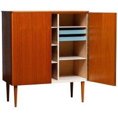1950's Scandinavian Teak Folding Door Cabinet Buffet Cabinet High Boy